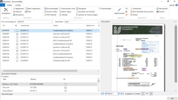 BouwVision Digitale Factuurverwerking - Documentlijst